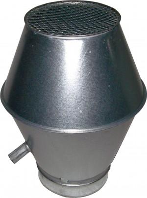 Deflektorhaube mit Ablauf für 250er Rohre