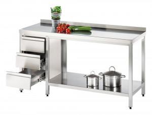 Arbeitstisch mit Grundboden und Schubladenblock links, mit Aufkantung - 1500 mm x 600 mm x 850 mm