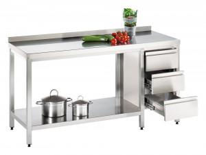 Arbeitstisch mit Grundboden und Schubladenblock rechts, mit Aufkantung - 2400 mm x 1600 mm x 850 mm