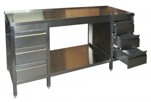 Arbeitstisch mit Grundboden, Schubladenblock links und rechts - 2700 mm x 600 mm x 850 mm