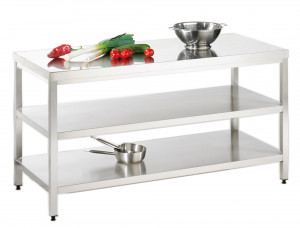 Arbeitstisch mit Grund-/ Zwischenboden - 2100 mm x 600 mm x 850 mm