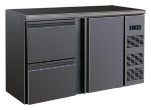 Flaschenkühltisch, 1 Tür, 2 Schubladen, schwarz