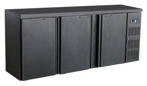 Flaschenkühltisch, 3 Türen, schwarz