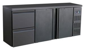 Flaschenkühltisch, 2 Türen, 2 Schubladen, schwarz