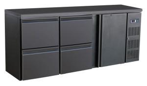 Flaschenkühltisch, 1 Tür, 4 Schubladen, schwarz