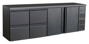 Flaschenkühltisch, 2 Türen, 4 Schubladen, schwarz