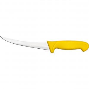 Ausbeinmesser Premium, HACCP, Griff gelb, gebogene Edelstahlklinge 15 cm