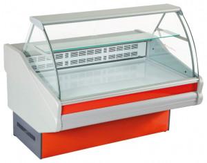 Kühltheke m. gebog. Hartglas u. lackierter Stahlblech-Ablage
