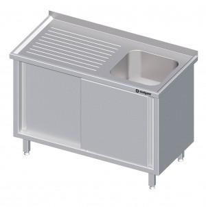 Spülschrank 1300x600x850 mmmit Schiebetüren mit einem Beckenmit Aufkantunglinks