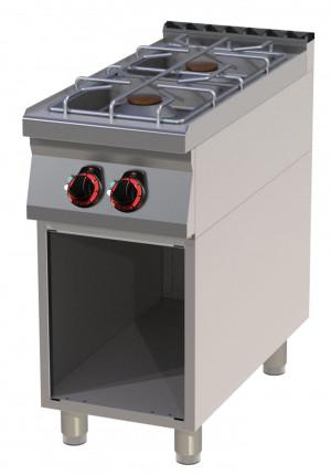 Gasherd, 2 Flammen, Standgerät - 400 mm x 900 mm x 900 mm