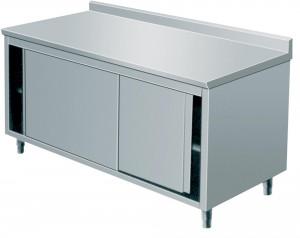 Arbeitsschrank mit Schiebetüren, mit Aufkantung - 800 mm x 600 mm x 850 mm