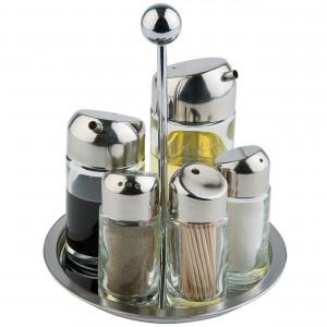 Menage 5-teilig, Salz/Pfeffer/Essig/Öl/Zahnstocher, Höhe 145 mm