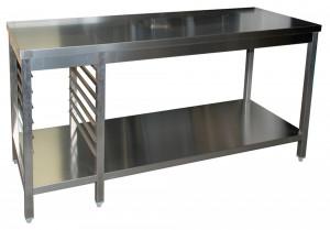 Arbeitstisch mit Grundboden, 7 Auflagewinkel GN1/1 links - 1400 mm x 600 mm x 850 mm