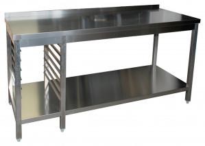 Arbeitstisch mit Grundboden, 7 Auflagewinkeln GN1/1 links und Aufkantung - 1400 mm x 700 mm x 850 mm