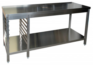 Arbeitstisch mit Grundboden, 7 Auflagewinkel GN1/1 links - 2100 mm x 700 mm x 850 mm
