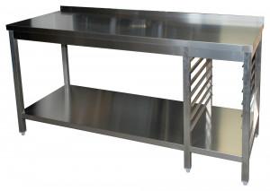 Arbeitstisch mit Grundboden, 7 Auflagewinkeln GN1/1 rechts und Aufkantung - 2100 mm x 600 mm x 850 mm
