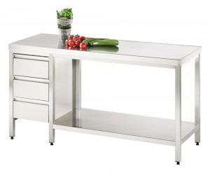 Arbeitstisch mit Grundboden und Schubladenblock links - 1000 mm x 700 mm x 850 mm