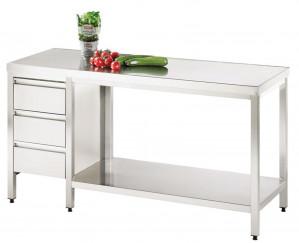 Arbeitstisch mit Grundboden und Schubladenblock links - 2200 mm x 800 mm x 850 mm
