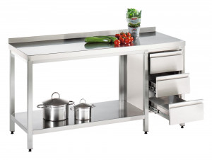 Arbeitstisch mit Grundboden und Schubladenblock rechts, mit Aufkantung - 900 mm x 850 mm x 850 mm
