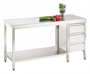 Arbeitstisch mit Grundboden und Schubladenblock rechts - 1700 mm x 1250 mm x 850 mm