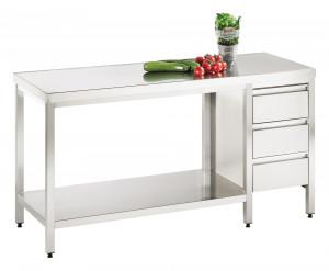 Arbeitstisch mit Grundboden und Schubladenblock rechts - 2400 mm x 1600 mm x 850 mm