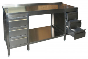 Arbeitstisch mit Grundboden, Schubladenblock links und rechts, mit Aufkantung - 2400 mm x 600 mm x 850 mm