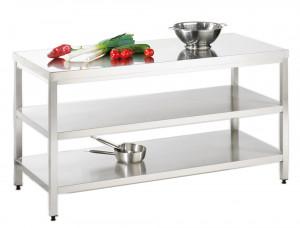 Arbeitstisch mit Grund-/ Zwischenboden - 800 mm x 800 mm x 850 mm