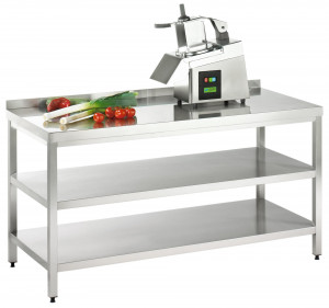 Arbeitstisch mit Grund-/ Zwischenboden und Aufkantung - 2500 mm x 600 mm x 850 mm