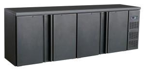Flaschenkühltisch, 4 Türen, schwarz