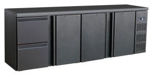 Flaschenkühltisch, 3 Türen, 2 Schubladen, schwarz