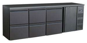 Flaschenkühltisch, 1 Tür, 6 Schubladen, schwarz