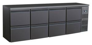 Flaschenkühltisch, 8 Schubladen, schwarz