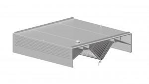 Induktions-Deckenhaube mit Kompensation, Kastenform  1200 mm x 2000 mm mit Flammschutzfilter Typ B