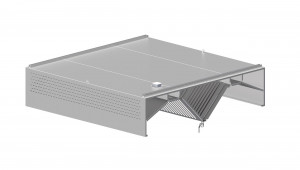 Induktions-Deckenhaube mit Kompensation, Kastenform  1300 mm x 2000 mm mit Flammschutzfilter Typ B
