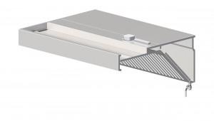 Wandhaube, schrägform 2100 mm x 600 mm mit Flammschutzfilter Typ B